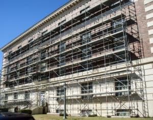 asbestos removal in a building under construction