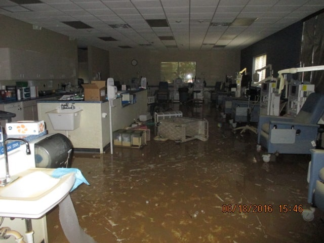 Farmer environmental services in a Dialysis Interior Overview due to flooding