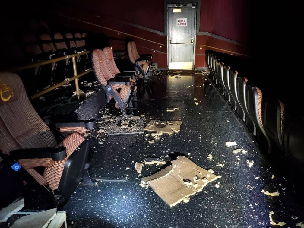 mold testing made after Hurricane Laura damage in a cinema
